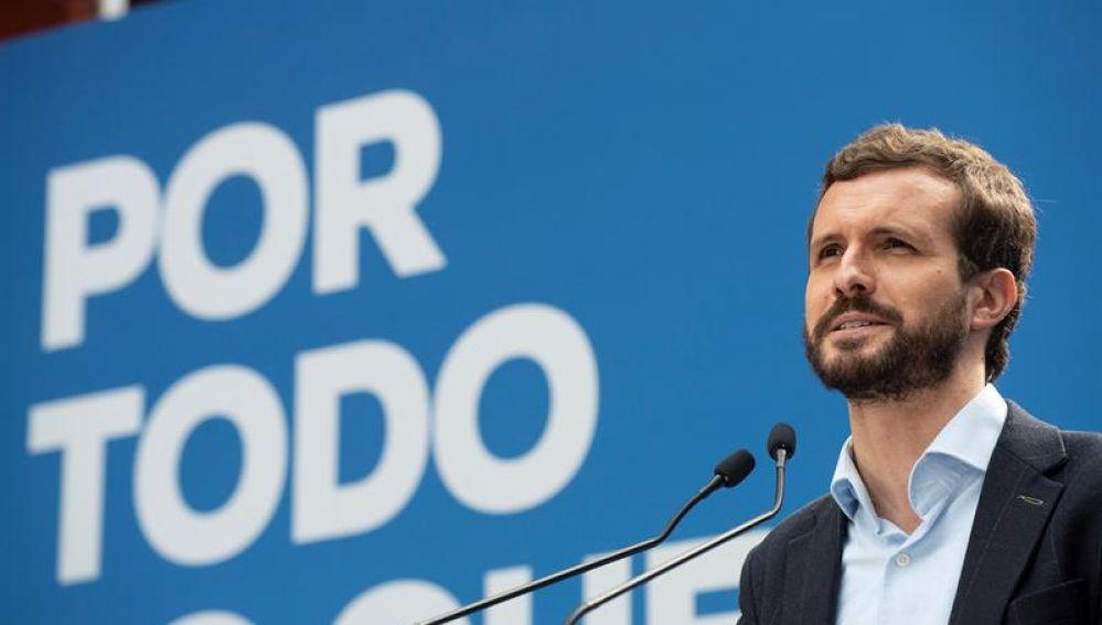 El líder del PP, Pablo Casado, en un mitin