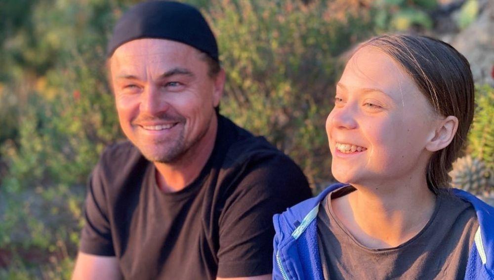 Greta Thunberg y Leonardo DiCaprio