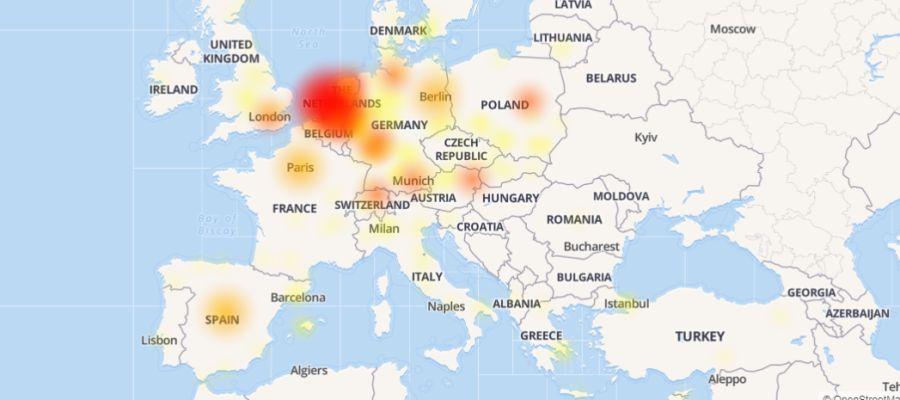 Mapa de calor de la caída de Netflix