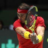Rafa Nadal, en un partido de la Copa Davis.