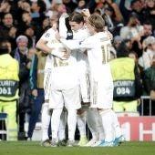 Brujas - Real Madrid: El Real Madrid celebrando un gol en Champions League