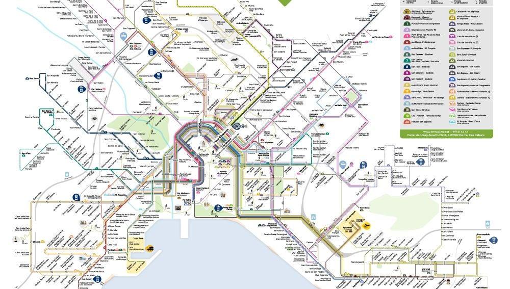 Mapa de las líneas de la EMT que recorren la ciudad de Palma