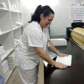 Patricia no seo posto de traballo