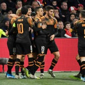 Rodrigo Moreno celebra su gol