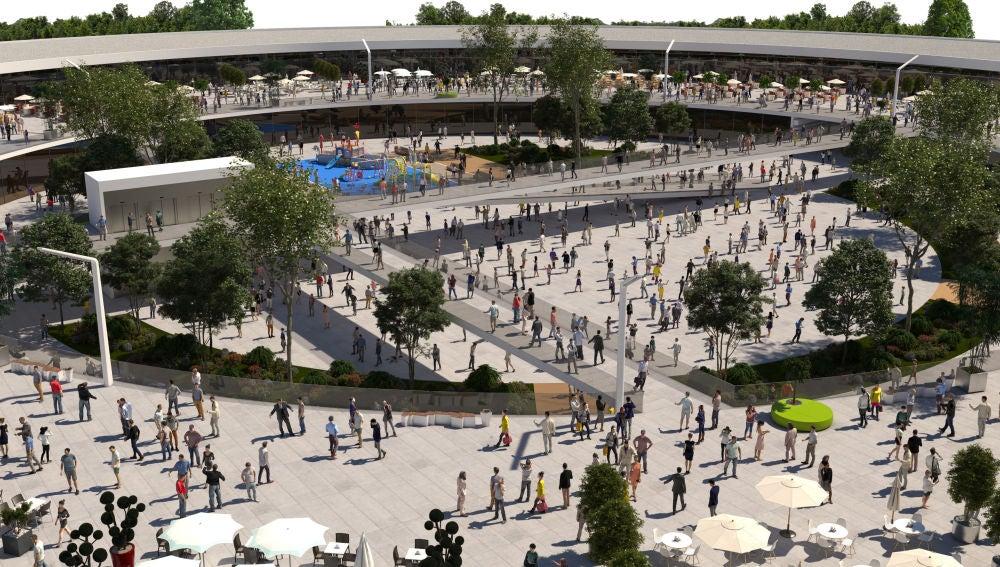 Simulación de la plaza central del centro comercial que se proyecta en Elche.