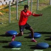 Thomas Lemar, en un entrenamiento del Atlético.