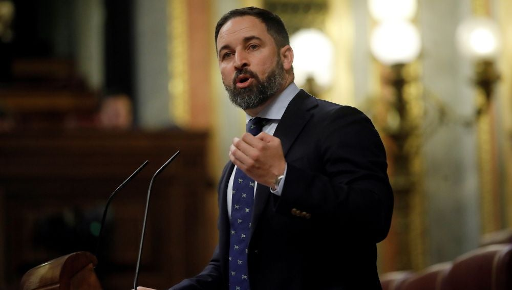 Santiago Abascal en la tribuna del Congreso durante la investidura de Sánchez
