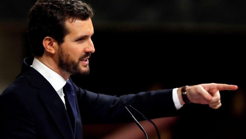 Pablo Casado, durante su intervención en el Congreso de los Diputados