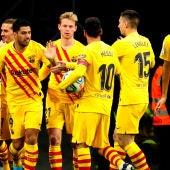 El FC Barcelona celebra un gol