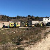 Ambulancias en el lugar del suceso en Colmenar Viejo.