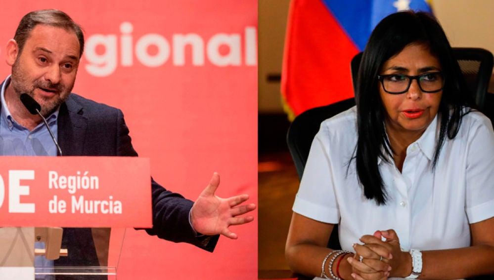 José Luis Ábalos, ministros de Transportes, Movilidad y Agenda Urbana, se reunión con la vicepresidenta de Maduro en Venezuela, Delcy Rodríguez