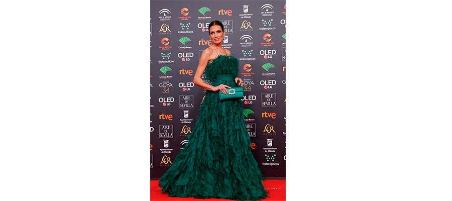 La modelo Nieves Álvarez a su llegada a la entrega de los Premios Goya 2020