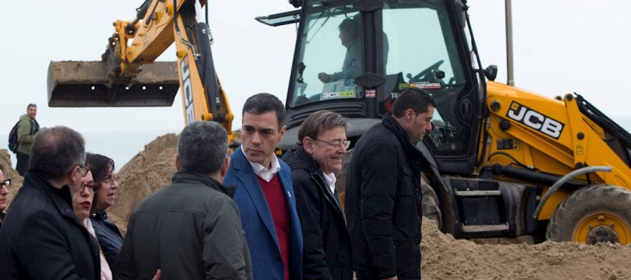 Pedro Sánchez en las zonas de Castellón más afectadas por la borrasca Gloria