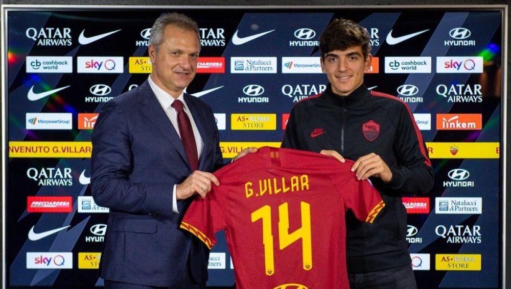 Gonzalo Villar, en su presentación como nuevo jugador de la AS Roma.