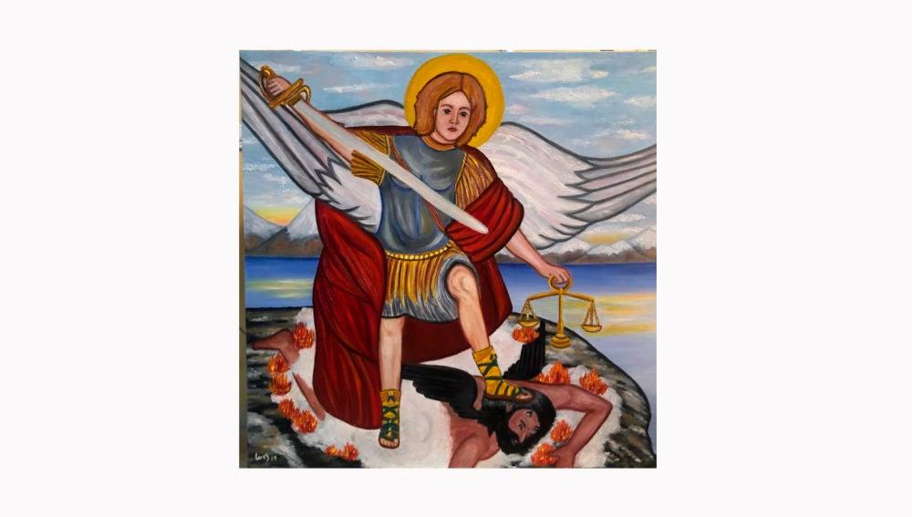 Cuadro de San Miguel que la pintora Inés Serna Orts de Elche.