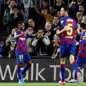 Ansu Fati celebra uno de sus dos goles ante el Levante