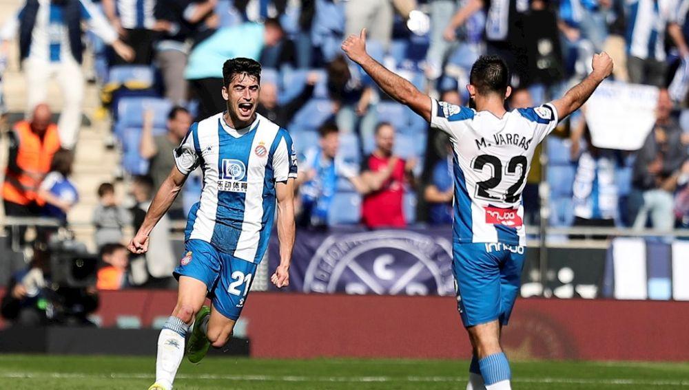 El Espanyol celebra el tanto ante el Mallorca