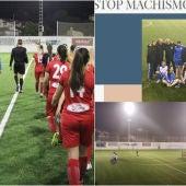 Los jugadores del Crevillente Femenino y el comunicado del club.