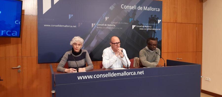 Los portavoces de PSIB, MÉS per Mallorca y Unidas Podemos en el Consell de Mallorca.