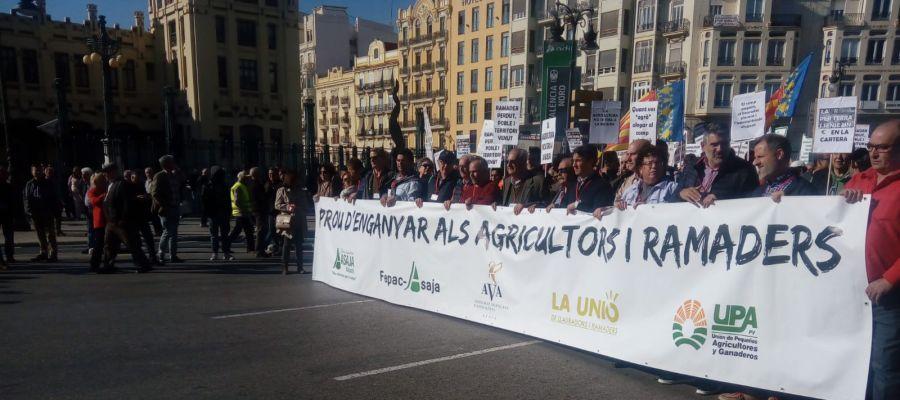 Manifestación en Valencia de los agricultores.