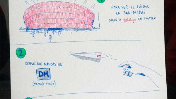 El dibujo de LaLiga para que el joven que dibujó a su abuelo las instrucciones para ver el fútbol pueda llevarle a San Mamés