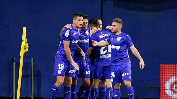 Los jugadores del Leganés celebran el gol de Óscar Rodríguez