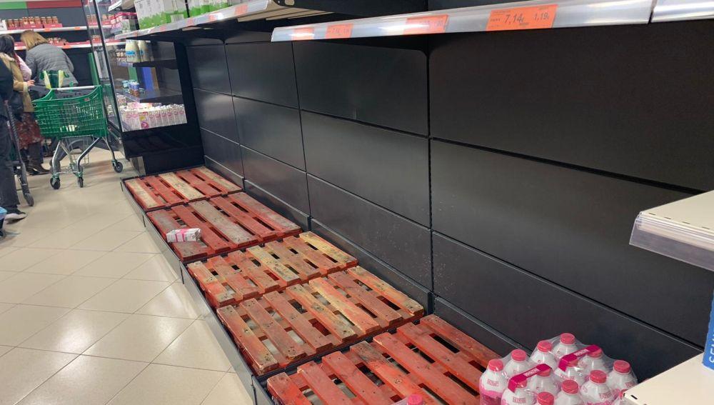 Supermercados vacíos en Madrid