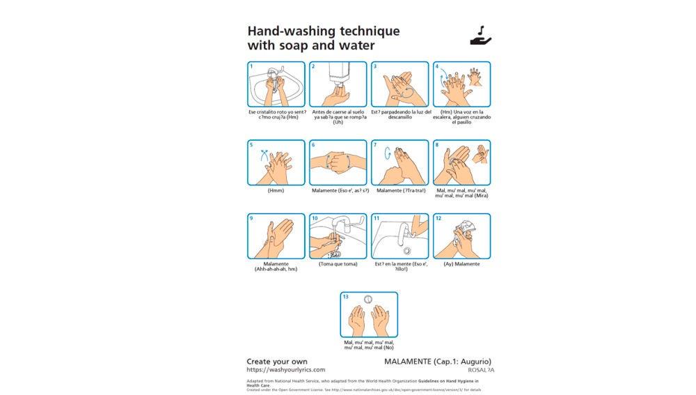 Ejemplo de cómo lavarse las manos al ritmo de 'Malamente' de Rosalía