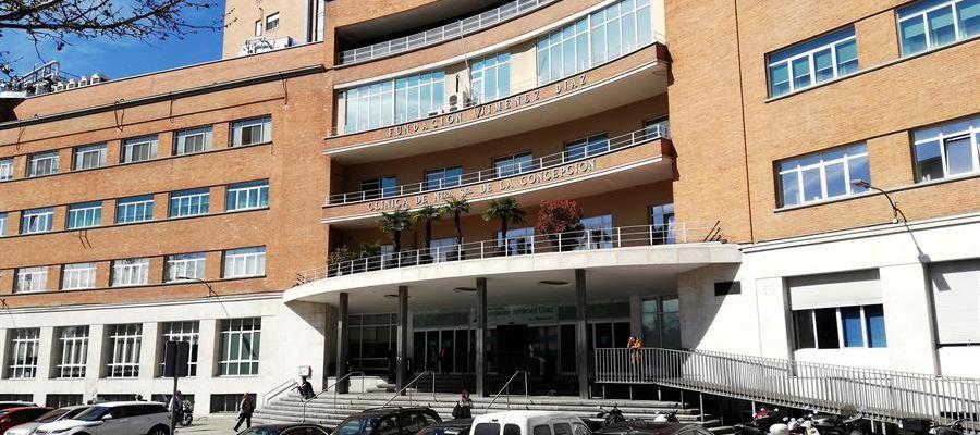 Vista de la entrada del Hospital de Fundación Jiménez Díaz, este miércoles en Madrid
