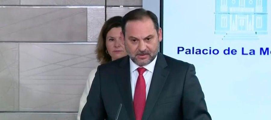 José Luis Ábalos en la comparecencia de Ministros