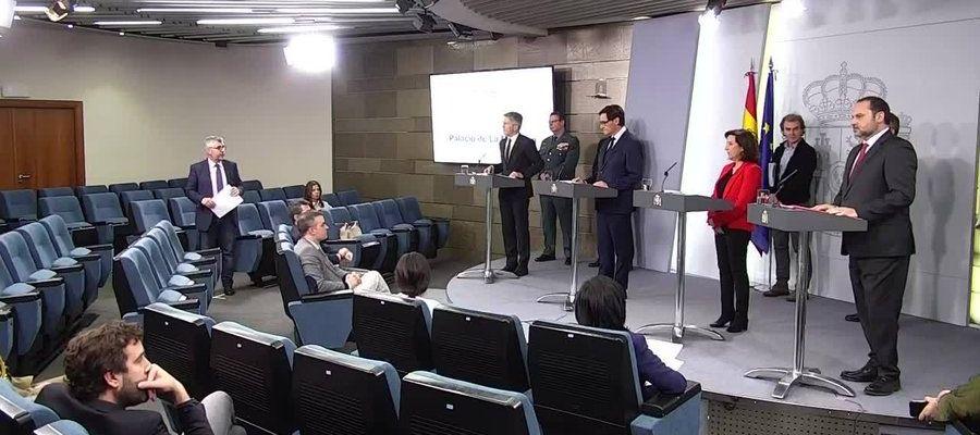 Los ministros de Sanidad, de Defensa, de Interior y de Transportes detallan el balance del coronavirus