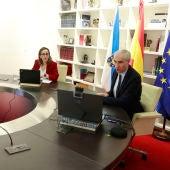 Francisco Conde, e Ethel Vázquez, mantiveron unha videoconferencia con representantes da Federación Galega da Construción
