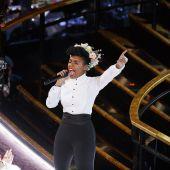 La cantante y actriz Janelle Monáe, durante su actuación en los Oscar 2020