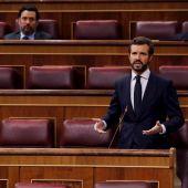 Pablo Casado durante la sesión de control al Gobierno