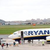 Avión de Ryanair en Santander