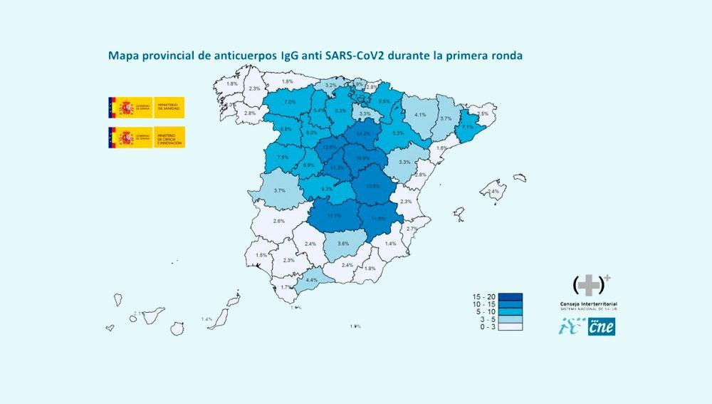 Mapa provincial de anticuerpos IgG anti SARS-CoV2 durante la primera ronda
