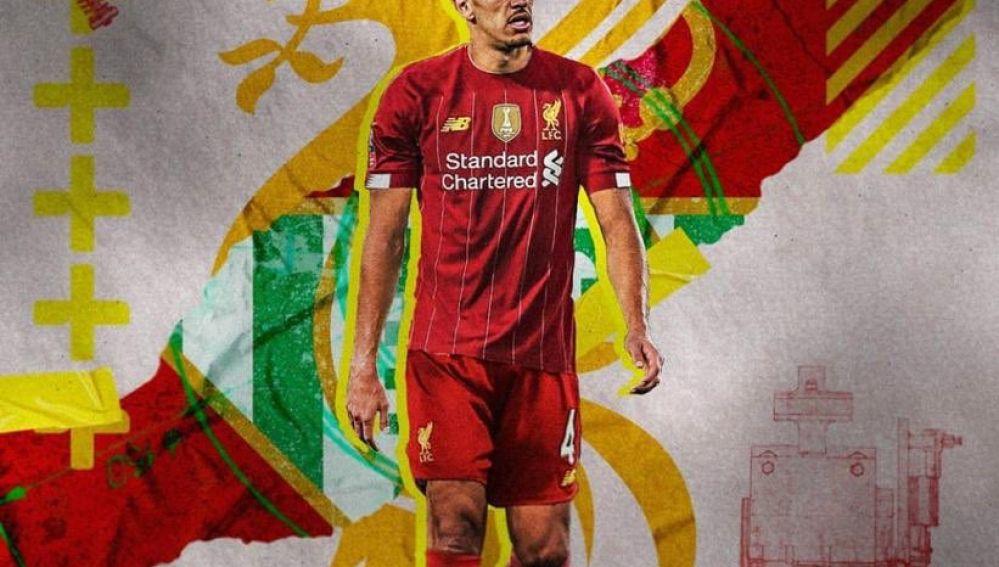 El montaje en el que se ve a Feddal vestido del Liverpool.