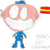 Uno de los dibujos enviados por escolares a la Policía Nacional de Alcázar de San Juan