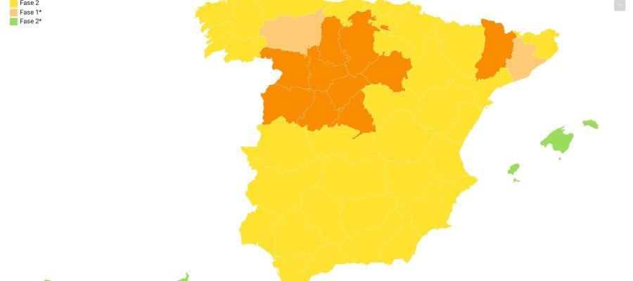 El mapa de la desescalada por fases.
