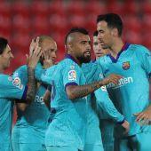 El delantero danés del FC Barcelona Martin Braithwaite celebra con sus compañeros su gol ante el Mallorca