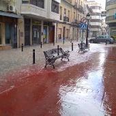 Acumulación de agua de lluvia en Novelda.