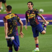 Leo Messi en un calentamiento del FC Barcelona