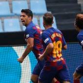 Luis Suárez celebra uno de sus dos tantos frente al Celta