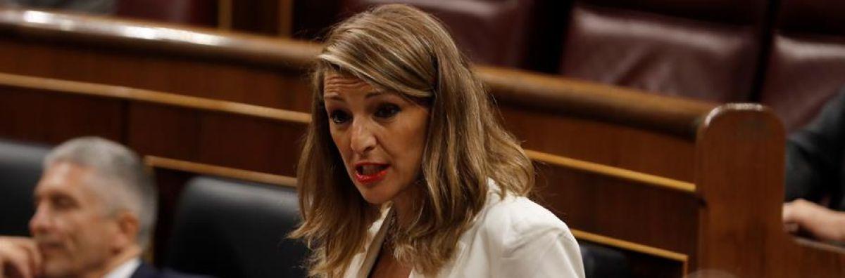 """Yolanda Díaz tranquiliza sobre el Gobierno en coalición: """"A veces las legítimas diferencias que tenemos no son ni de partido"""""""