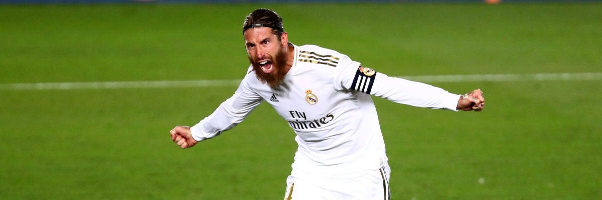 Sergio Ramos celebra su gol al Getafe