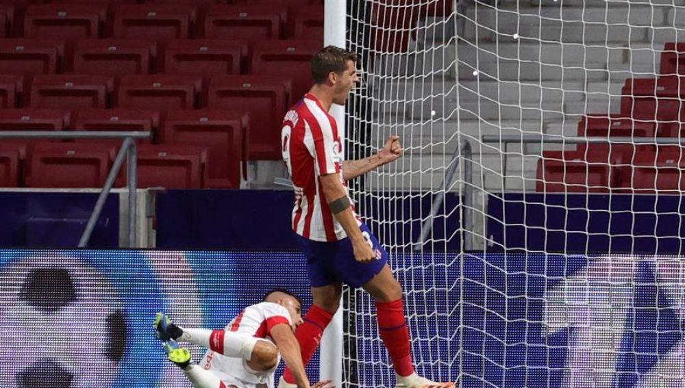 Morata celebra uno de sus goles con el Atlético.