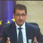 José Manuel Caballero, durante su comparecencia en la comisión de las Cortes de CLM
