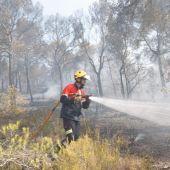 Bombero en el incendio forestal de Monóvar.