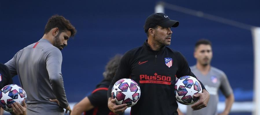 Simeone, durante un entrenamiento con el Atlético de Madrid.