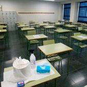 Detalle de un aula vacía en el instituto IES San Tomé en Vigo